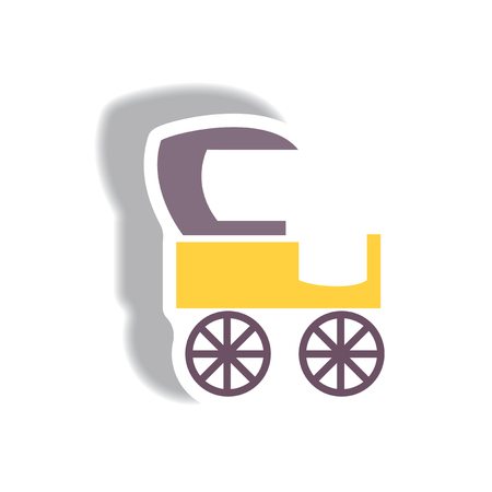 brougham: stylish icon in paper sticker style retro carriage
