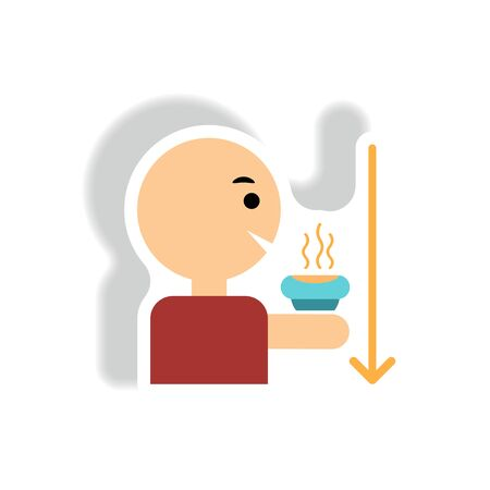 stylish icon in paper sticker style man drinking hot