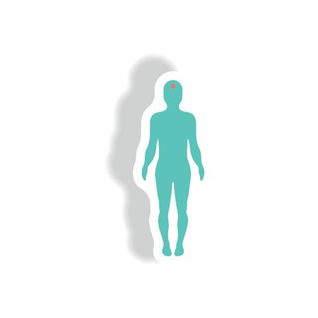 stylish icon in paper sticker style body stroke