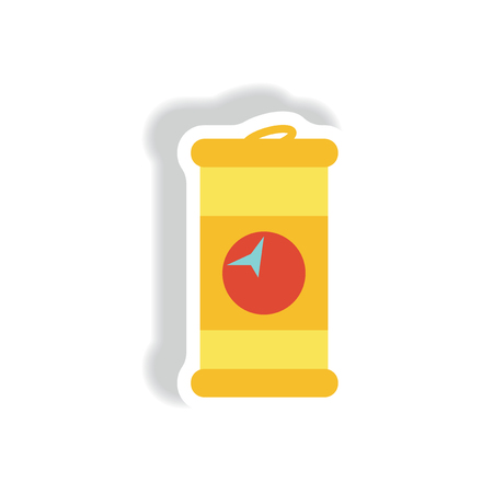 gallons: stylish icon in paper sticker style iron barrel Illustration