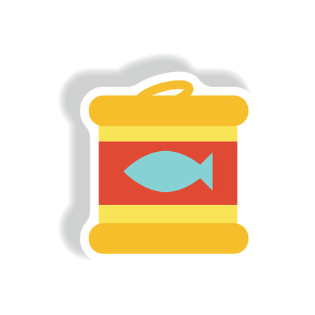 distraction: stylish icon paper sticker style Canned tuna fish Illustration
