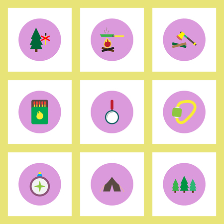 woodpile: Collection of stylish vector icons in colorful circles Camping equipment Illustration