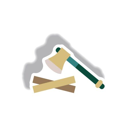 stylish icon in paper sticker style wood and an ax Illustration