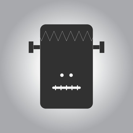 black and white Vector illustration in flat design Halloween icon monster