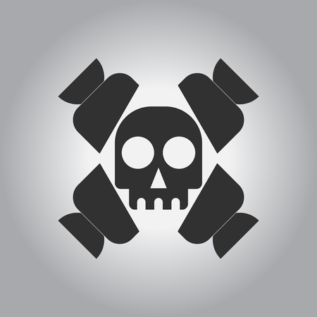 black and white Vector illustration in flat design Halloween icon candy and skull