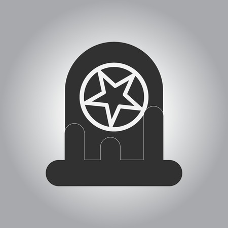 decomposition: black and white Vector illustration in flat design Halloween icon bloody grave monument with star