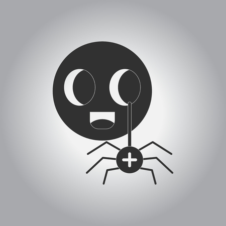 31: black and white Vector illustration in flat design Halloween icon spider on toy
