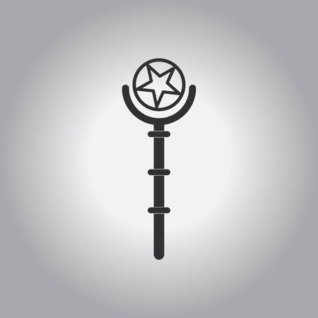 magus: black and white Vector illustration in flat design Halloween icon Magic wand