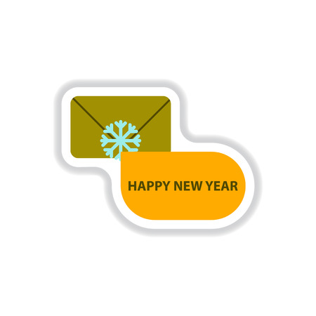 Vector illustration in paper sticker style envelope and snowflake
