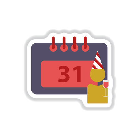 31st: Vector illustration in paper sticker style christmas calendar 31st of december and man silhouette with wine glass Illustration