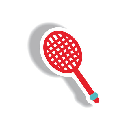 racquet: stylish icon in paper sticker style tennis racquet