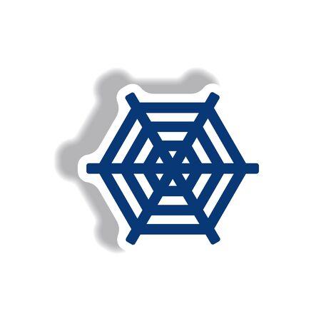 stylish icon in paper sticker style spider web