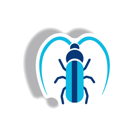 clamber: stylish icon in paper sticker style beetle barbel Illustration