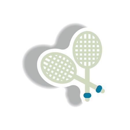 racquetball: icono de estilo en la etiqueta de papel del cohete del estilo de tenis Vectores