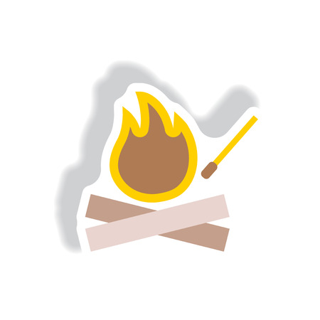 woodpile: stylish icon in paper sticker style fire and match Illustration