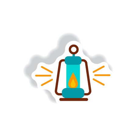 kerosene: stylish icon in paper sticker style Antique Old Kerosene Lamp