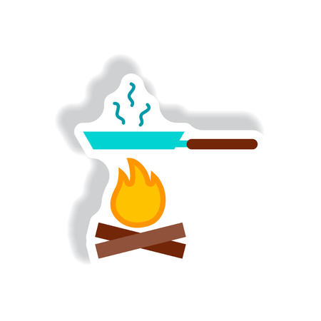 stylish icon in paper sticker style Pan with fire