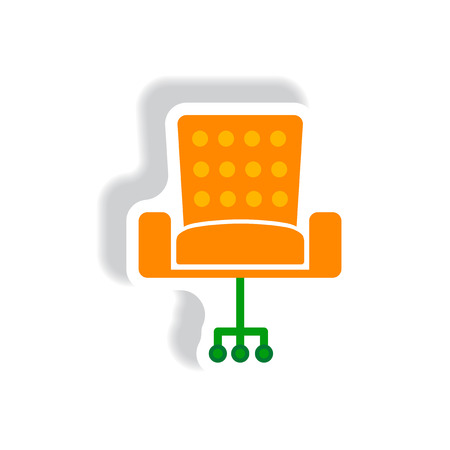 stylish chair: stylish icon paper sticker style office chair