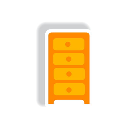 chest of drawers: stylish icon in paper sticker style office chest of drawers