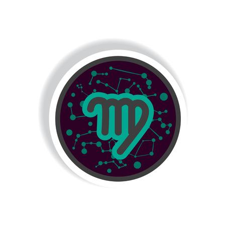 predict: stylish icon in paper sticker style Zodiac signs Virgo