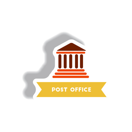 post office building: stylish icon in paper sticker style building post office Illustration