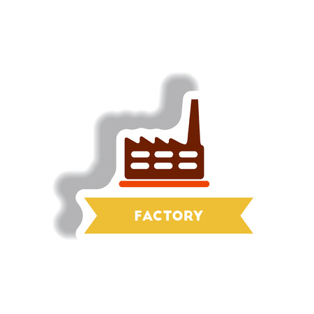 manufactory: stylish icon in paper sticker style building factory Illustration
