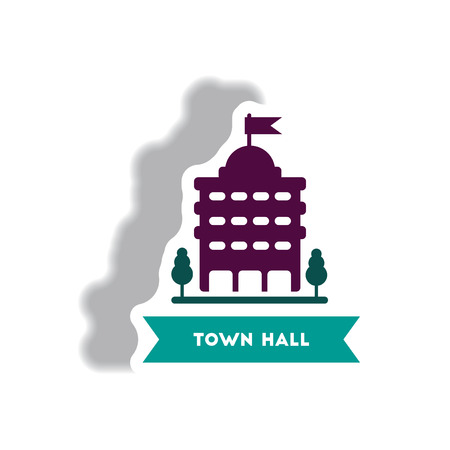 town hall: stylish icon in paper sticker style building town hall Illustration