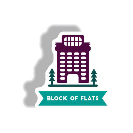 apartment block: stylish icon in paper sticker style building apartment block Illustration