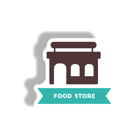 shop assistant: stylish icon in paper sticker style building grocery store Illustration