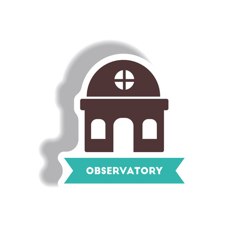 iconic architecture: stylish icon in paper sticker style building observatory
