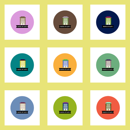 apartment block: Collection of stylish vector icons in colorful circles building apartment block
