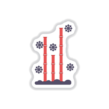 Vector illustration of bamboo and snow in paper sticker style