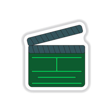 Vector illustration in paper sticker style Director clapperboard