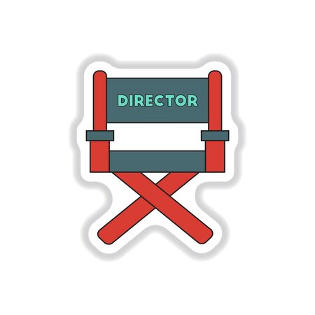 movie director: Vector illustration in paper sticker style Movie director chair
