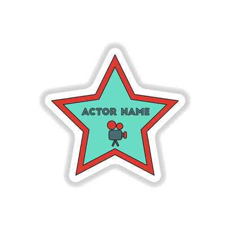 famous actor: Vector illustration in paper sticker style Walk of fame star with actor name