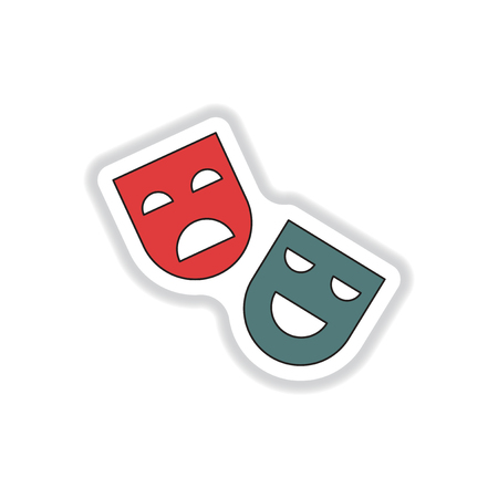 comedy and tragedy: Vector illustration in paper sticker style Comedy and tragedy theater masks Illustration