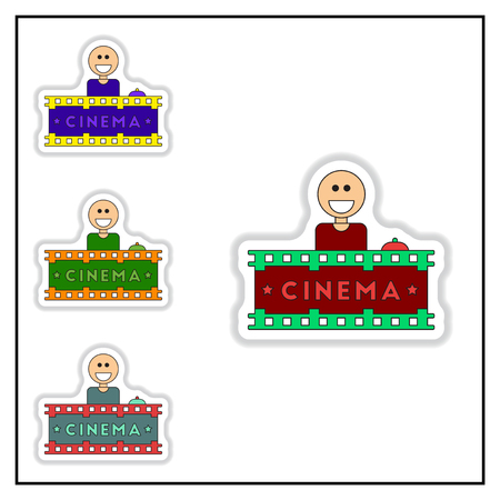 newsstand: Collection of Vector illustration in paper sticker style Seller sells tickets to cinema Illustration
