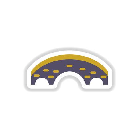 drawbridge: Vector illustration in paper sticker style Brick bridge Illustration
