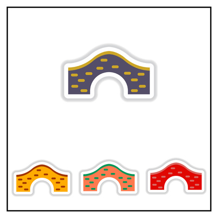 keystone: Collection of Vector illustration in paper sticker style brick bridge