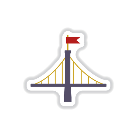 Vector illustration in paper sticker style metal bridge with flag