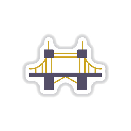 balustrade: Vector illustration in paper sticker style metal bridge