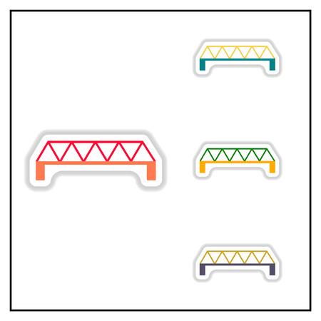 balustrade: Collection of Vector illustration in paper sticker style metal bridge Illustration