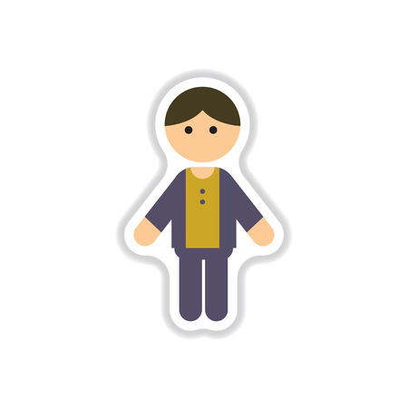youthful: Vector illustration in paper sticker style little boy