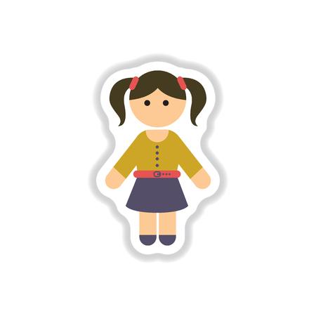 Vector illustration in paper sticker style little girl Illustration