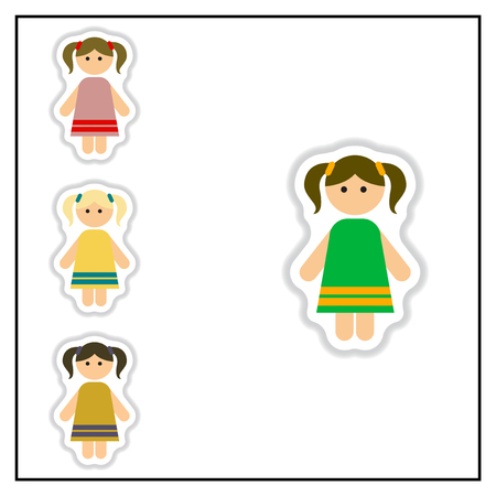 youthful: Collection of Vector illustration in paper sticker style little girls Illustration
