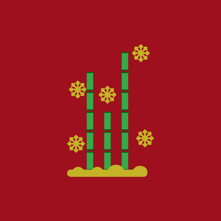 chinese bamboo: Chinese bamboo Vector illustration of bamboo and snow in flat style