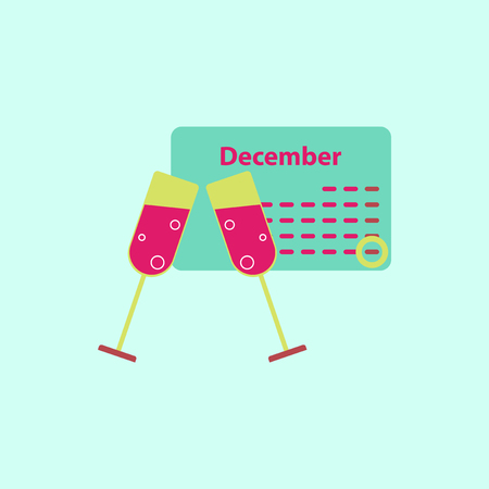 calendar and champagne Vector illustration christmas calendar and two glasses of champagne
