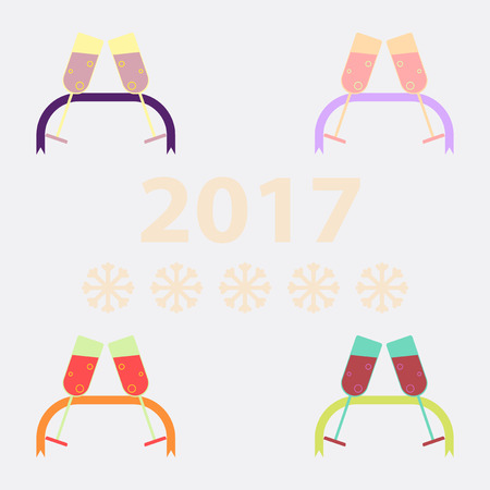 collection of champagne glasses and ribbon Vector illustration New Year Celebration two glasses of champagne