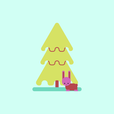 year of the rabbit: new year tree Vector illustration christmas tree and rabbit