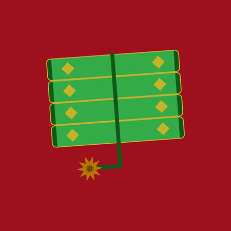 jade: Vector illustration of Chinese new year celebration in flat style firecrackers